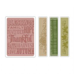 657466 Texture Fades Embossing Folders 4PK Thankful Background & Borders Set by Tim Holtz